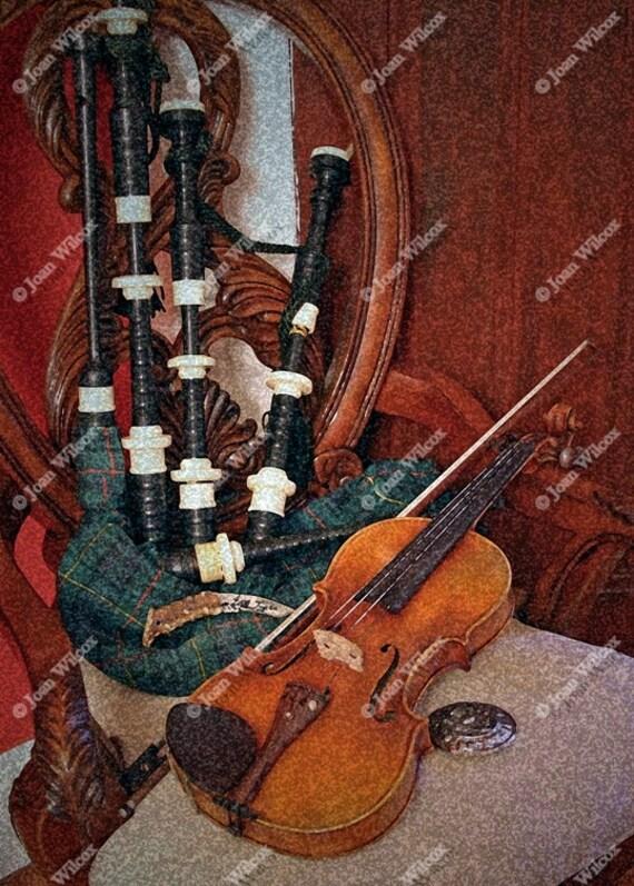 Celtic Bliss Violin Fiddle & Bagpipes Irish Scottish Instruments Fine Art Photography Photo Print