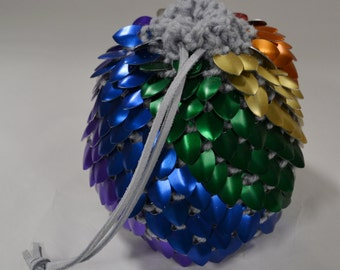 Dice Bag of Holding in knitted Dragonhide Scalemail Armor Extra Large Rainbow