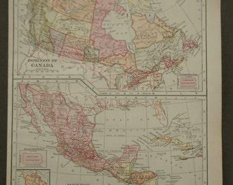 Vintage map, 1902 Canada, Mexico antique School Geography  map