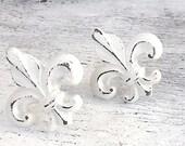 Door Pulls, Fleur de Lis, Shabby Chic Creamy White, Door Knobs, French Decor, Dresser Knobs, Set of 2
