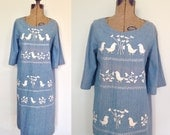 70's Embroidered Chambray Dress with Bell Sleeves /Mexican Embroidery Tent Dress Large