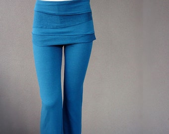 Organic yoga pants, organic cotton pants, organic leggings, handmade organic clothes, pants with skirt
