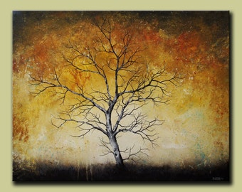 Large Contemporary Abstract Birch Tree Original Fine Art, Solo Tree, Abstract Tree, One Tree, Branches, Birch Tree, FREE SHIPPING DROB