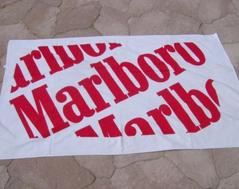 Vintage Red and White Marlboro Cigarettes Advertising Beach Towel - 36 x 59 Inches