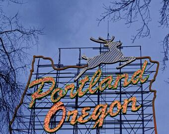 "Architectural Photography ""Stumptown Love"" Portland Oregon Photo, Portland Art, White Stag Portland Sign Art, Wall Decor, Portland Print"