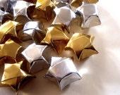 20 Metallic Gold and Silver Origami Lucky Stars - Wishing Stars - Table Decor, Confetti, Gift Enclosure, Decoration