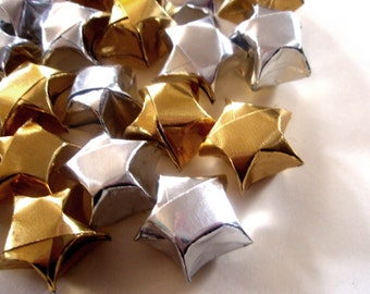 20 Metallic Gold and Silver Origami Lucky Stars - Wishing Stars - Table Decor, Confetti, Gift Enclosure, Decoration - Paper Stars Set
