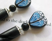 Butterfly Maiden - Hairsticks in Blue and Black
