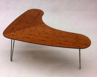 Mid Century Modern Bamboo Boomerang Coffee Table w/ Hairpin Legs - Atomic Era Biomorphic Design In Renewable Bamboo