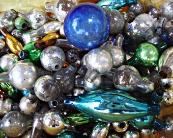 A Box of More Than 100 Victorian, Mini MERCURY GLASS Feather Tree Ornaments:  Various shapes, colors, and conditions of mercury