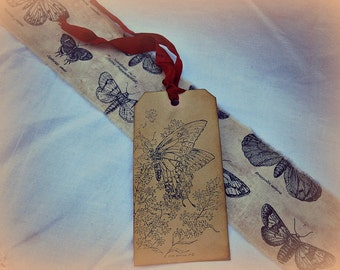 Vintage Inspired Biotanical Butterfly Print Style Handmade Ribbon-TWO Ribbons at 44 inches EACH