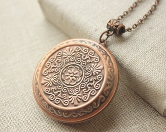 Large Locket Necklace Antiqued copper locket long Chain Necklace plated secret message locket gift to sister mother girlfriend daughter N205