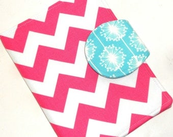 "Kindle Paperwhite eReader Cover Nook Touch Cover Kindle Fire HD 7"" all sizes available - Pink Chevron Aqua Sunburst eReader Cover"