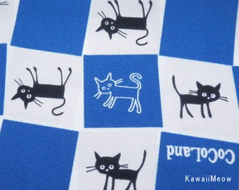 CoCoLand Fabric - Check Cats on Blue - Fat Quarter - (no140127)