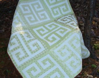 Green White Brown Lap or Baby Quilt
