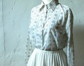 Cream Floral Shirt - XS/S - Vintage Collared Button-Up Top