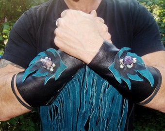 DeviDesigns Amethyst Flame Fringed Reclaimed Leather Gauntlet cuffs
