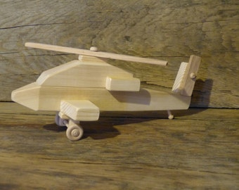 Handmade Wood Toy Apache Helicopter Wooden Toys Military Chopper Kids Boys Child Birthday Gift Present