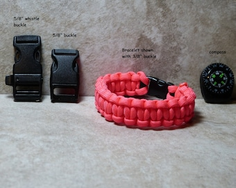 Paracord Bracelet Hot Pink Survival Bracelet 550 para cord  compass girls Boys Childs Hiking Backpacking Camping Gear Accessories