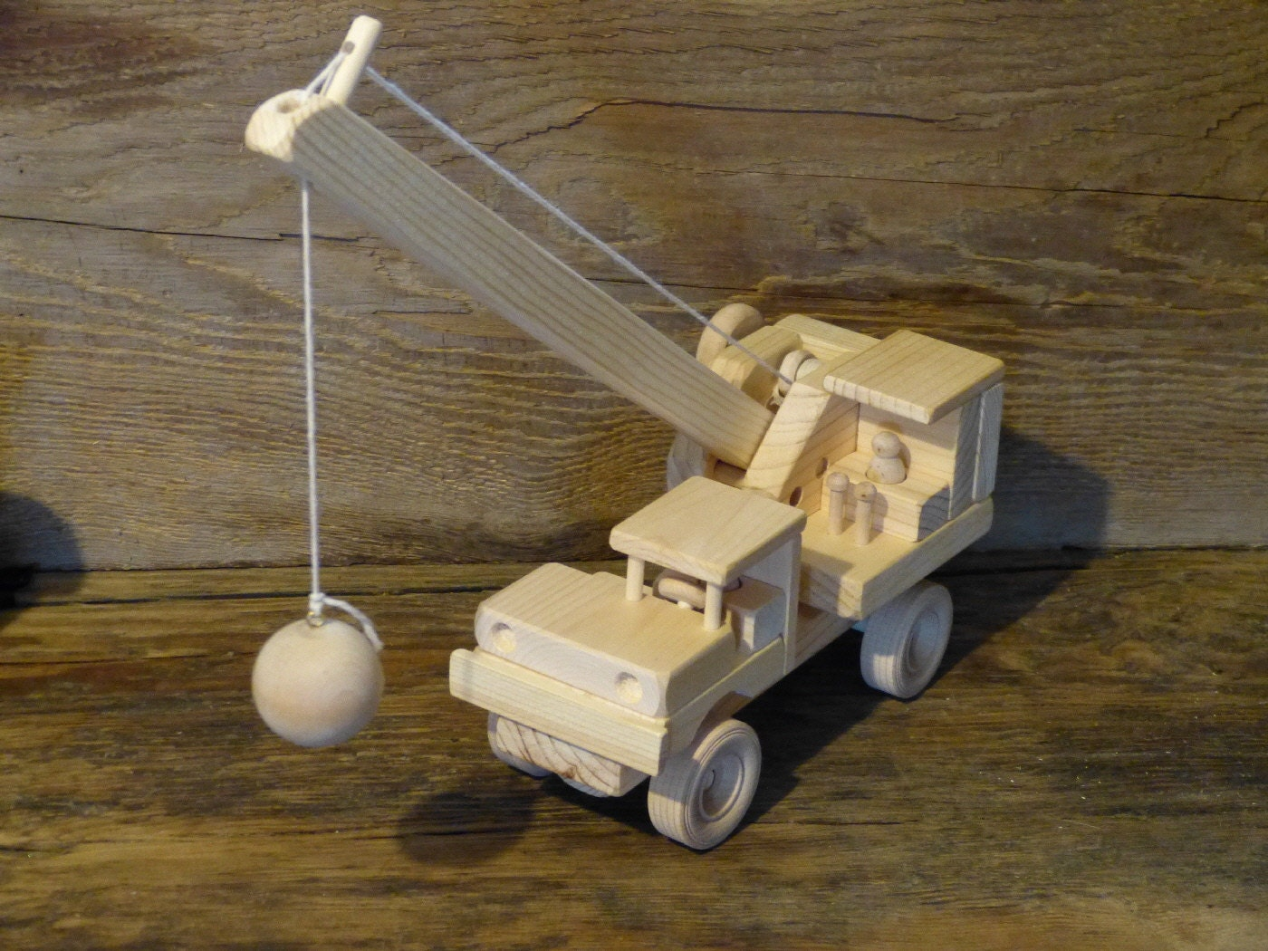 Wooden Construction Toys : Wrecking ball construction handmade wood toy crane wooden toys