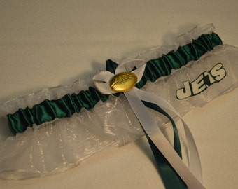Handmade wedding garter keepsake New York JETS wedding garter