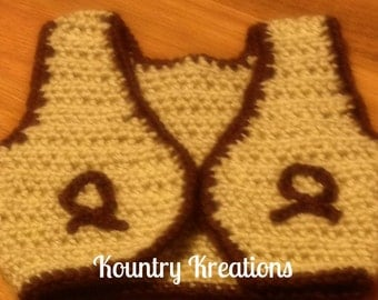 Crochet Vest/ Crochet Cowboy Vest/ Crochet Cowgirl Vest/GETTY UP Crochet Cowboy Vest - Photography Prop -  (Ready to Ship)