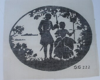 Vintage Silhouette Cross Stitch Pattern on Canvas Needlework Project