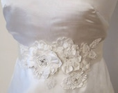 White Beaded Flower Belt Bridal Wedding Sash Bridal  3D Applique
