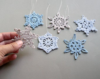 6 Medium Snowflake Ornaments -- Gray and Blue Crochet Snowflakes -- Assortment CN2