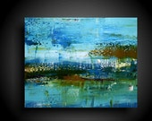 Original Abstract Painting Wall Art Modern Art Large Contemporary Painting by The Raw Canvas Big 24 x 30 Colors Blue Brown Green White