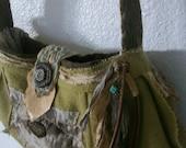 wheat grass green wool fiber and leather handbag