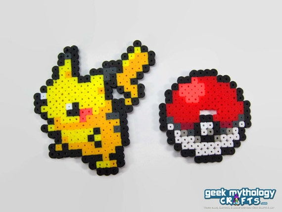 small pokemon perler bead sprite figures with pokeball stands. Black Bedroom Furniture Sets. Home Design Ideas