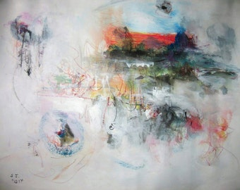 Painting Abstract Seonjeong Kim Art, Orange green Abstract original Painting, contemporary seascape acrylic on watercolor paper