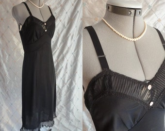 50s 60s Lingerie // Vintage 1950s 1960s Black Long Nightgown with Chiffon Trim and 2 Tiny Pink Roses Size S M
