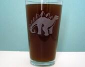 Stegosaurus Dinosaur Etched Pint Glass