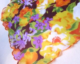 Vintage Scarf - 70s Chiffon Scarf -  Ladies Vintage Neck Scarf - Floral Chiffon Scarf - 1970s Fashion Accessories