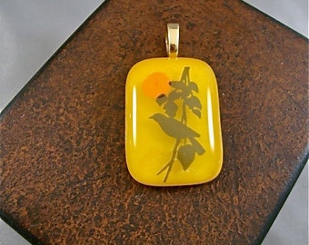 Golden Sunrise Bird Pendant by Design4Soul