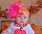 Fall Thanksgiving Shocking Pink and Orange Over The Top Funky Birthday Boutique Hair Bow on matching Headband