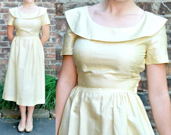 Vintage 50s Delicate Silk Day Dress - Shawl Collar Modified Peter Pan Collar