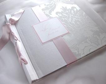 12x12 Baby Scrap book or Photo album-white damask