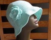 Crochet Cloche, Flip Up, Hat, Soft Green Pull On, Flower Brooch