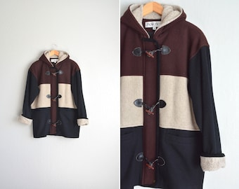 vintage '90s brown, tan & black wide-STRIPED hooded DUFFLE COAT. size m l xl.