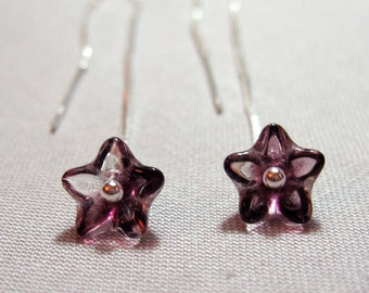 Deep purple flower earrings - variegated purple glass flowers on sleek modern sterling silver ear threaders - free shipping USA