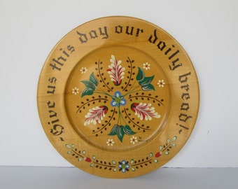 Hand Painted Lords Prayer Wood Plate