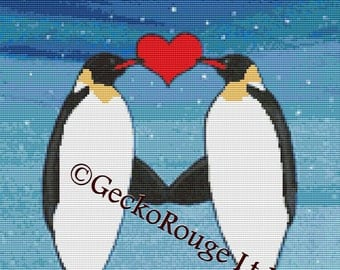 Modern cross stitch kit 'Always and Forever' - Penguins by Robert Bretz - Counted cross stitch