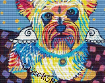 Modern Cross Stitch By Heather Galler 'Yorkshire Terrier Angel' - Cross Stitch Kit, Dog Art , Colorful