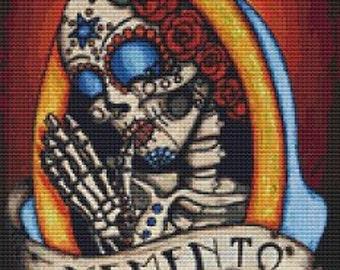 Modern cross stitch by Shayne of the Dead 'Memento' cross stitch kit