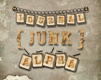 Journal Junk Alpha - Scrapbooking, Card Supplies, Crafts - INSTANT DOWNLOAD -3.50