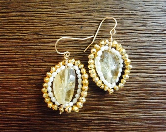 ume - citrine, pyrite, and pearl earrings.