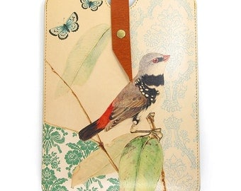 Leather iPad mini case, iPad mini 3 Case, Kindle Paperwhite Case - Bird on Branch with Butterflies
